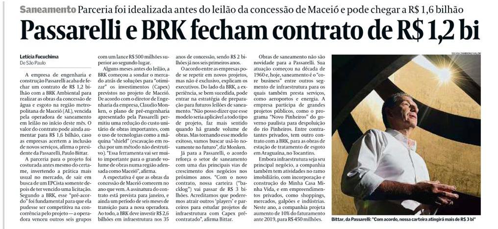 Passarelli e BRK fecham contrato de R$1,2 bi